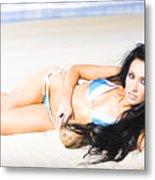 Tropical Beach Woman Metal Print