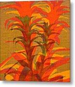 Syncopated Botanicals In Tangerine Orange Metal Print