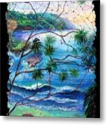 Tropical Cove  Fresco Triptych 2 Metal Print