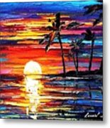 Tropical Fiesta - Palette Knife Oil Painting On Canvas By Leonid Afremov Metal Print