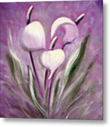 Tropical Flowers In Purple Metal Print
