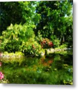 Tropical Garden By Lake Metal Print