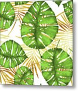 Tropical Haze Green Monstera Leaves And Golden Palm Fronds Metal Print