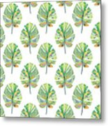 Tropical Leaves On White- Art By Linda Woods Metal Print