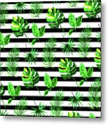 Tropical Leaves Pattern In Watercolor Style With Stripes Metal Print