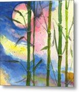 Tropical Moonlight And Bamboo Metal Print