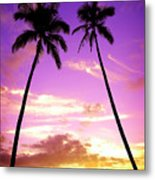 Tropical Palm Trees Silhouette Sunset Or Sunrise Metal Print