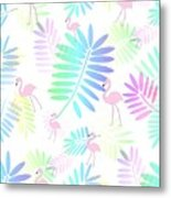 Tropical Pink Flamingos Metal Print