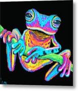 Tropical Rainbow Frog On A Vine Metal Print by Nick Gustafson