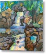 Tropical Rainbow Waterfall Metal Print