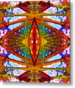 Tropical Stained Glass Metal Print