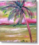Tropical Sunset In Pink With Palm Tree Metal Print
