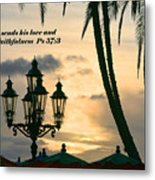 Tropical Sunset Psalm Fifty Seven Vs Three Metal Print