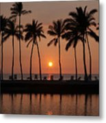 Tropical Sunset Silhouettes  Metal Print