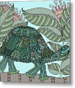 Tropical Turtle Metal Print