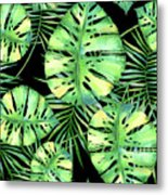 Tropics Noir, Tropical Monstera And Palm Leaves At Night Metal Print