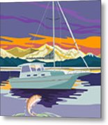 Trout Jumping Boat Metal Print