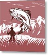 Trout Jumping Fisherman Metal Print