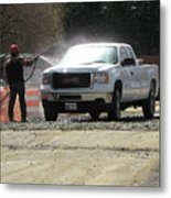 Truck Being Sprayed With Water Metal Print