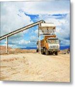 Truck Loading Gravel In Tabnzania. Metal Print