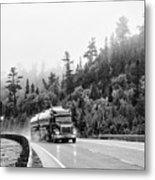 Truck On Foggy Highway Metal Print