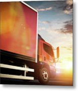 Truck Speeding On The Highway. Transportation Metal Print