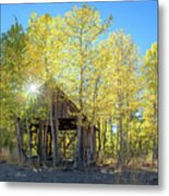 Truckee Shack Near Sunset During Early Autumn With Yellow And Green Leaves On The Trees Metal Print
