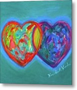True Blue Hearts Metal Print