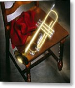Trumpet On Chair Metal Print