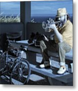 Trumpet Player Playing The Blues Fermin Point Los Angeles In Infrared Metal Print