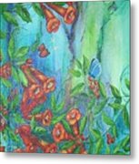 Trumpet Vine With Butterfly Metal Print