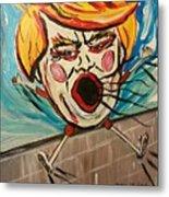Trumpty Dumpty Falling Off His Imaginary Wall Metal Print