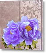 Tryst, Lavender Blue Peonies Still Life Flowers Metal Print