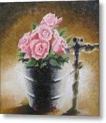 Tub Of Roses Metal Print