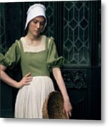 Tudor Woman Outside A Timber Building  Metal Print