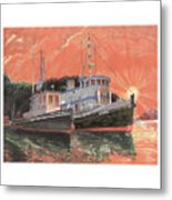 Tug Boats Anchored In Red Sky Metal Print