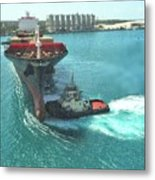Tugboat At Freeport, Grand Bahamas Harbor Metal Print