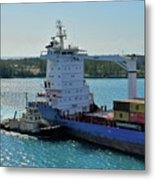 Tugboat Helping Container Ship Out Of Harbor Metal Print