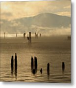 Tugboat In The Mist Metal Print