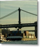 Tugboat Pulling A Barge On The East Metal Print
