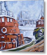 Tugs In Harbour Metal Print