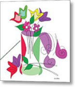 Tulip - Scribble Collection Metal Print