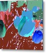 Tulipani Blu E Corallo Metal Print