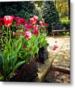 Tulips And Bench Metal Print