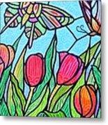 Tulips And Butterflies Metal Print