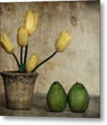 Tulips And Green Pears Metal Print