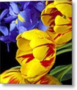 Tulips And Iris Metal Print