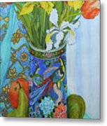 Tulips And Iris In A Japanese Vase, With Fruit And Textiles Metal Print