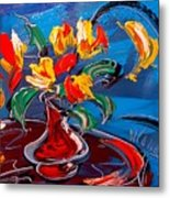 Tulips And Moon Metal Print