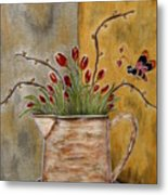 Tulips And The Lovely Bee Metal Print